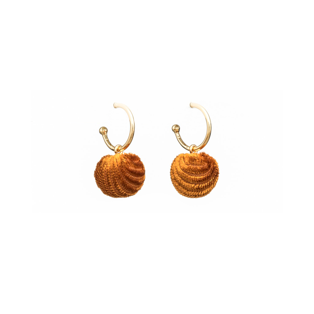 Stella + Gemma Earrings Velvet Ball Mustard Gold