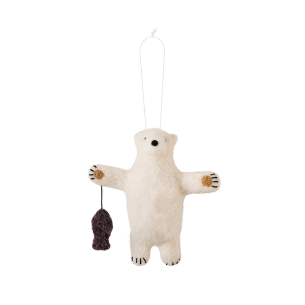 Citta Polar Bear Felted Wool Hanging Decoration Cream Brown