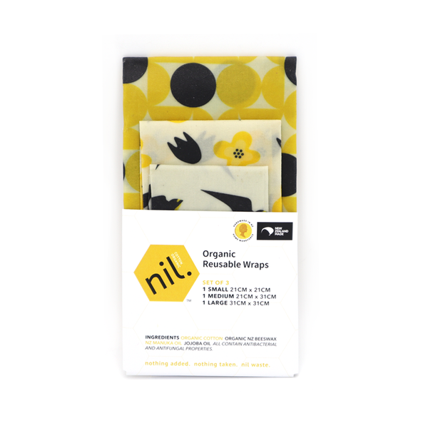 Nil Organic Beeswax Food Wraps Mixed Pack of 3 Yellow