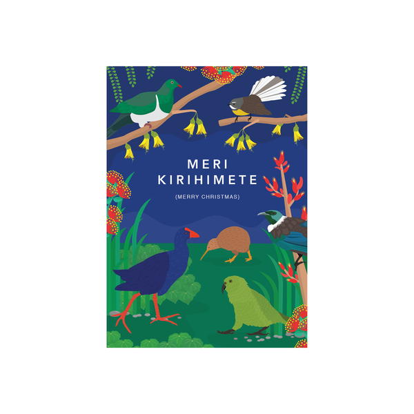 Iko Iko Christmas Card NZ Birds Night