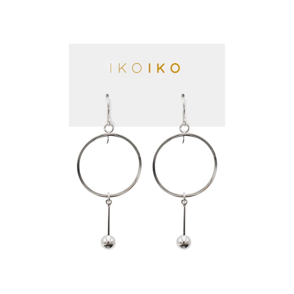 Iko Iko Earrings Circle with Hanging Ball on Bar Silver