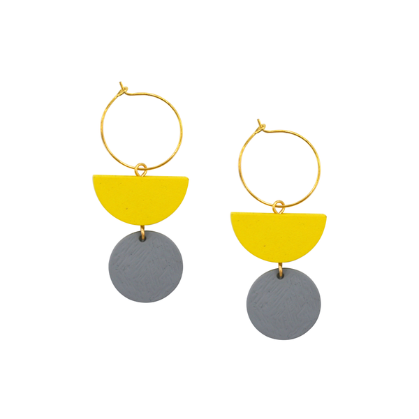 Penny Foggo Earrings Geo Drops Yellow and Grey