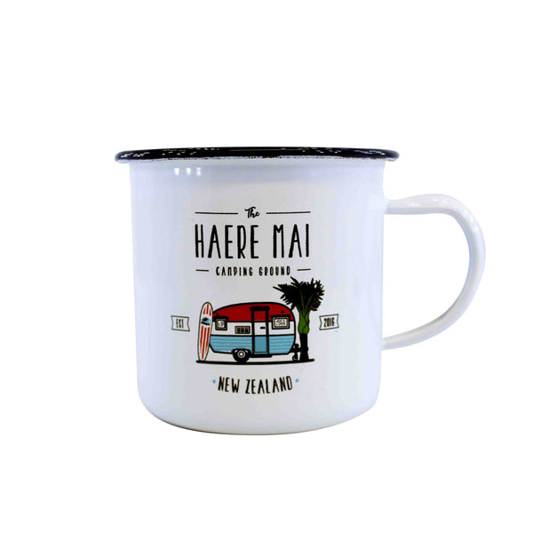 Moana Road Haere Mai Camping Ground Enamel Mug