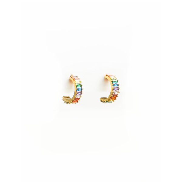 Stella + Gemma Earrings Small Gold Hoop Rainbow
