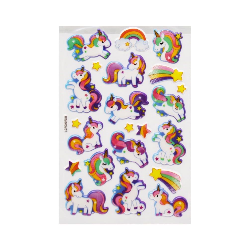 Playful Unicorn Puff Stickers
