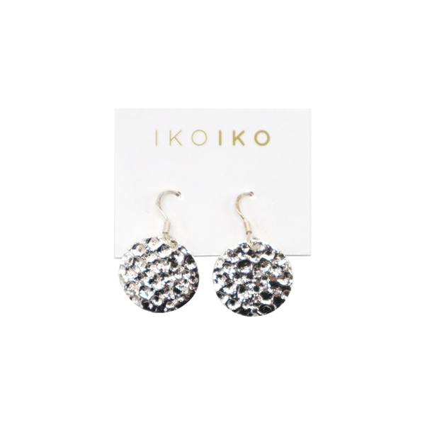 Iko Iko Earrings Round Hammered Silver