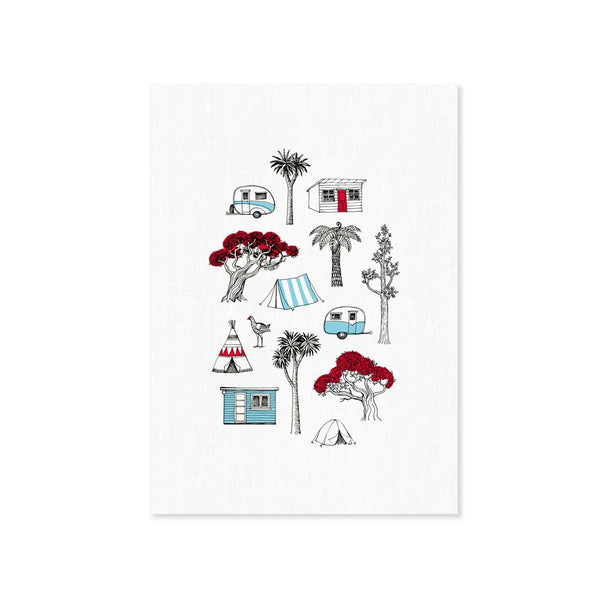 Wolfkamp and Stone Tea Towel Camping