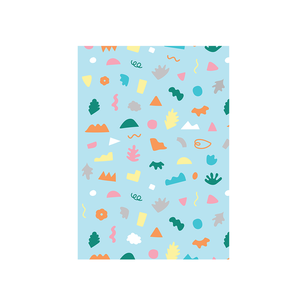 Iko Iko Abstract Card Shapes and Squiggles Light Blue