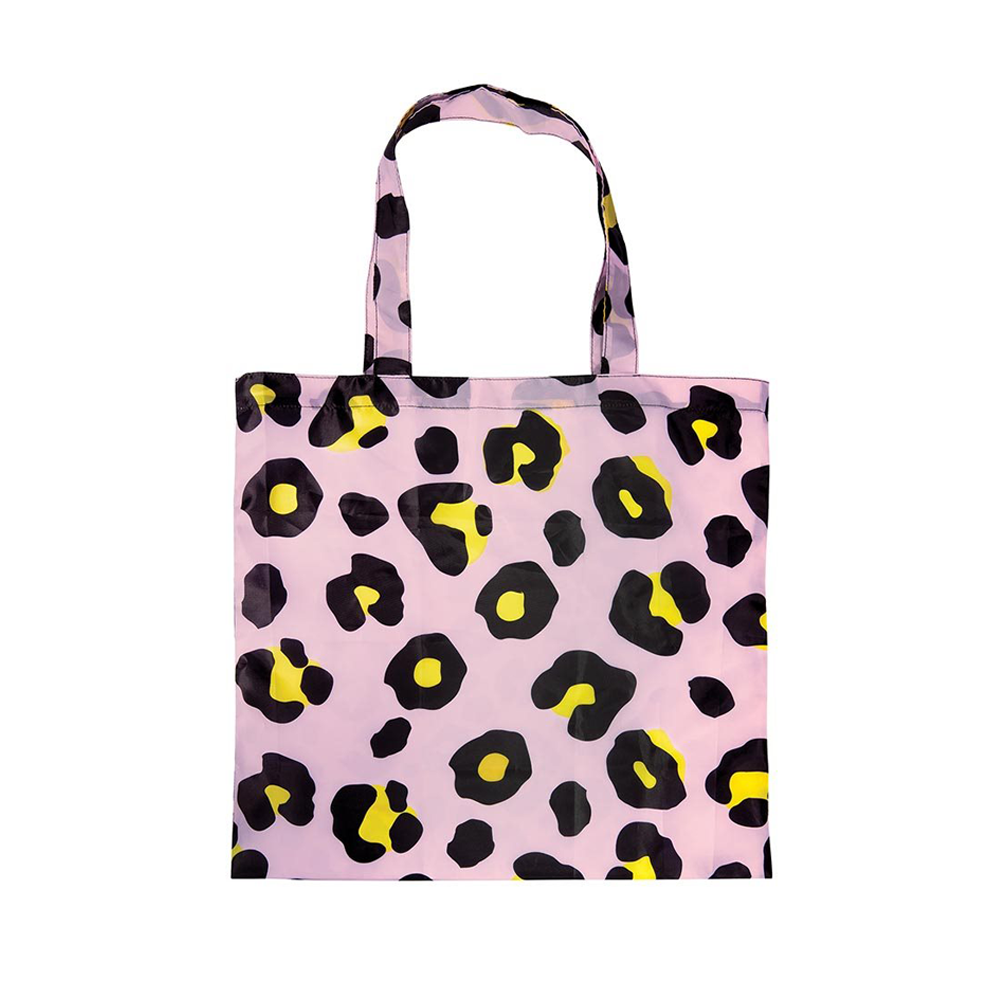 Foldable Shopper Tote Bag Leopard Pink