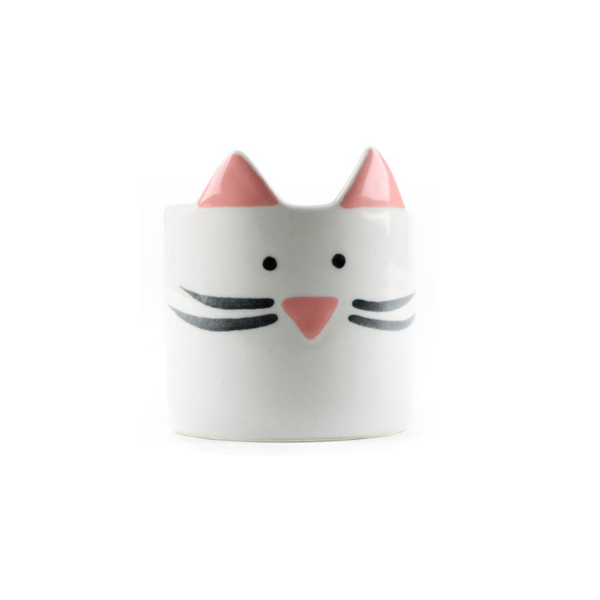 Mini Cat Planter White