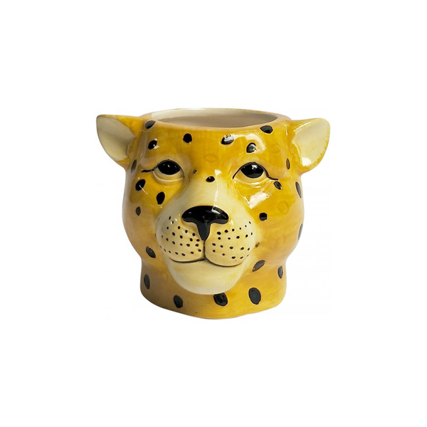 Cheetah Head Planter Small Yellow
