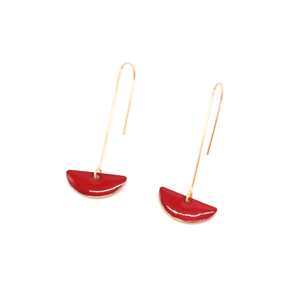Penny Foggo Earrings Enamel Semicircle Drops Red