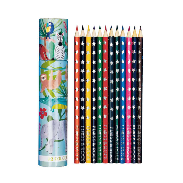 Jungle Tube Coloured Pencils Pack of 12
