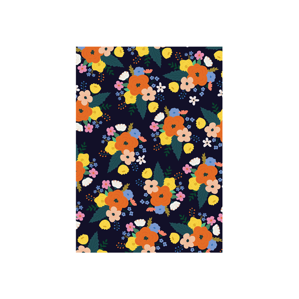 Iko Iko Floral Card Bright Bloom Dark Navy with Orange Flower