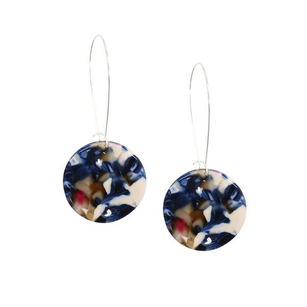 Penny Foggo Earrings Blue Tortoiseshell Circles Long