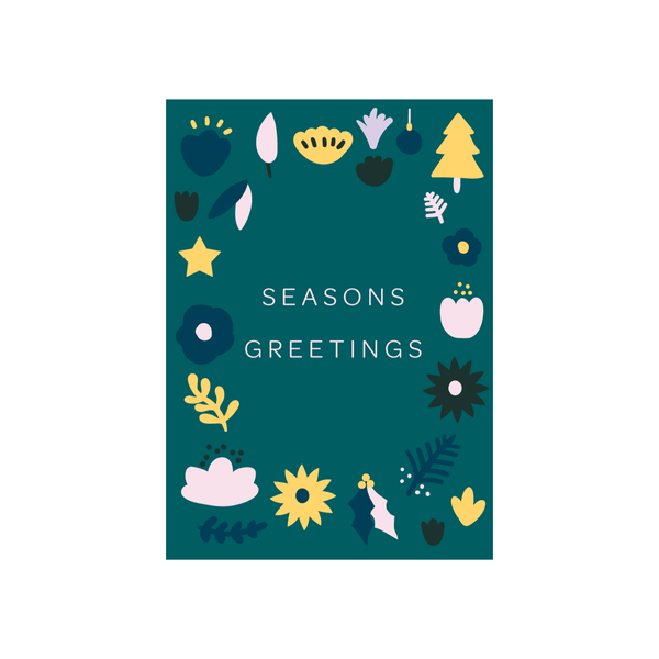 Iko Iko Christmas Card Flowers Seasons Greetings
