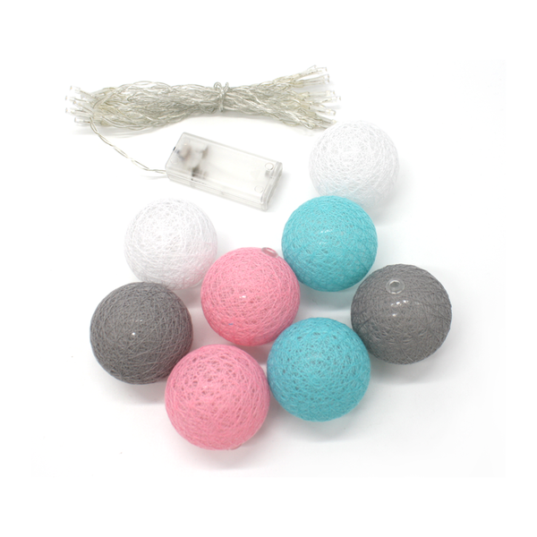 Cotton Ball LED Fairy Lights Pink Blue Grey
