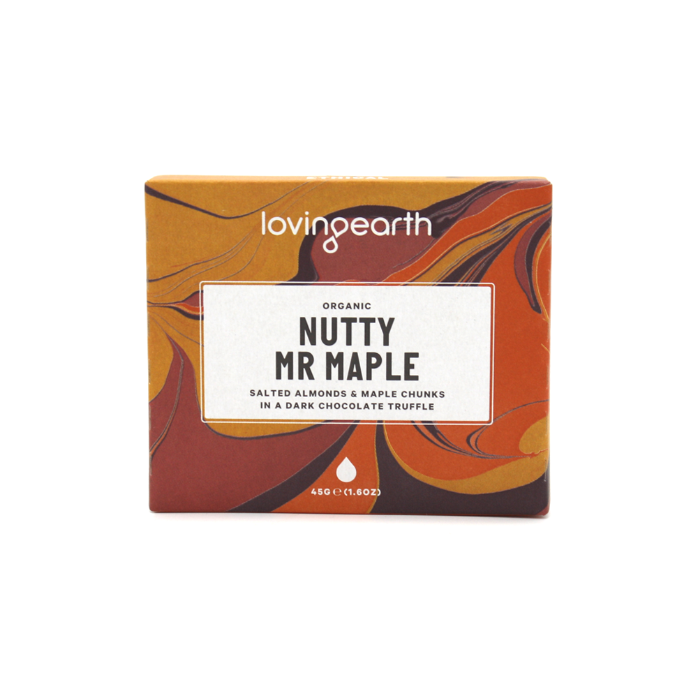 Loving Earth Organic & Vegan Chocolate 45g Nutty Mr Maple
