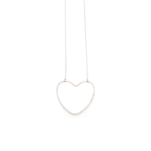 Stella + Gemma Necklace Heart Hollow Silver