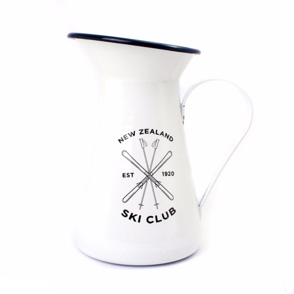 Moana Road New Zealand Ski Club Enamel Jug White