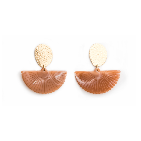 Stella + Gemma Earrings Gold with Fan Coral