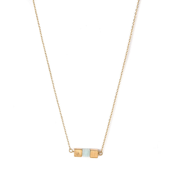 Stella + Gemma Necklace Three Cube Row Amazonite Gold