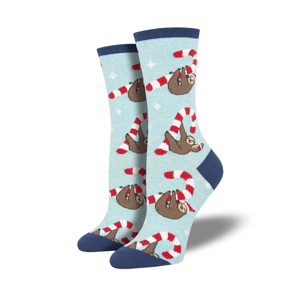 Socksmith Socks Womens Christmas Merry Slothmas Blue