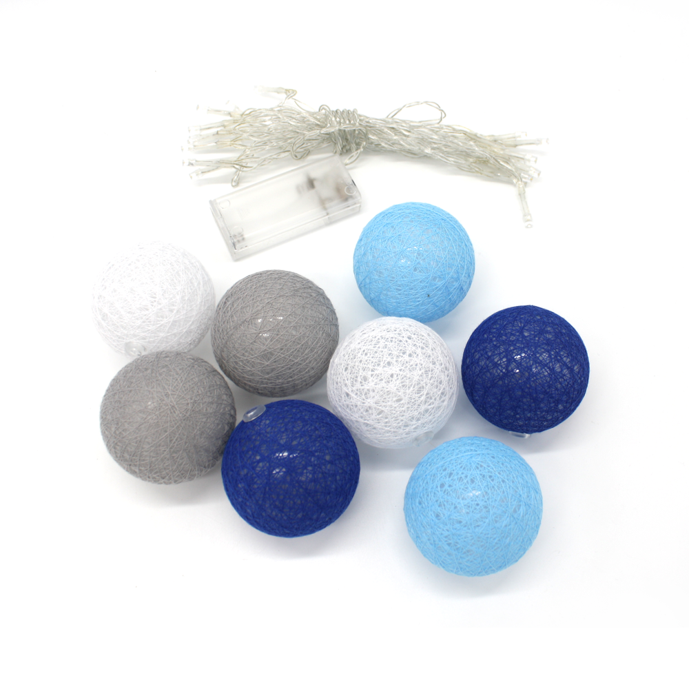 Cotton Ball LED Fairy Lights Blues and Greys