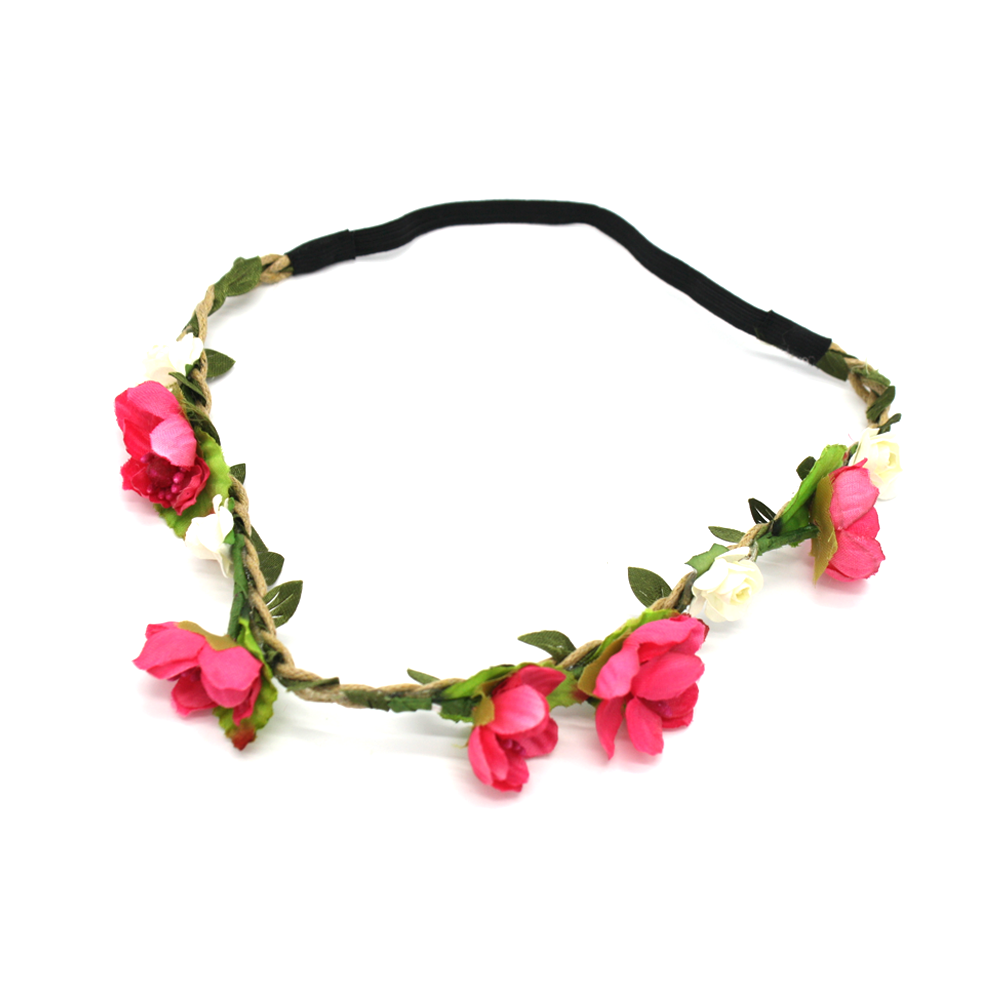 Flower Crown Headband Bright Pink