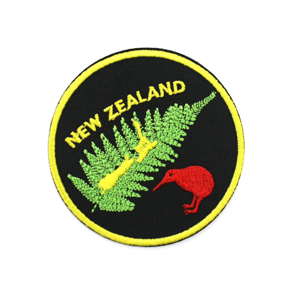 New Zealand Iron on Patch Kiwi Fern Map