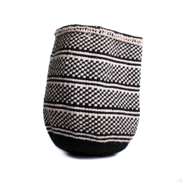 Maka Emali Hand Woven Basket B&W Check Stripe Design 3