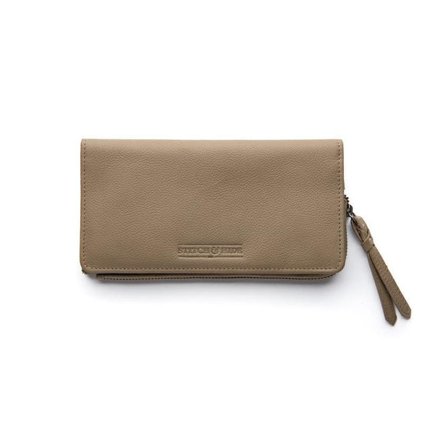 Stitch & Hide Leather Slimline Wallet Penni Dusty Linen