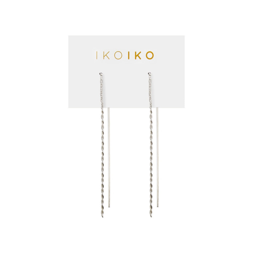 Iko Iko Earrings Thread Half Twist Silver