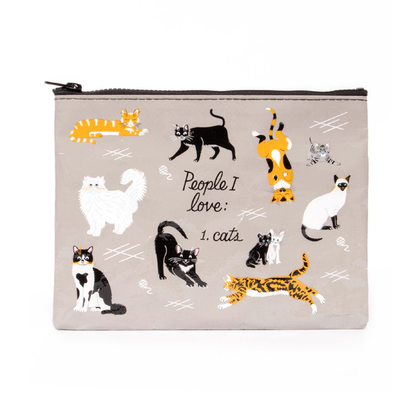 Blue Q Zipper Pouch People I Love Cats