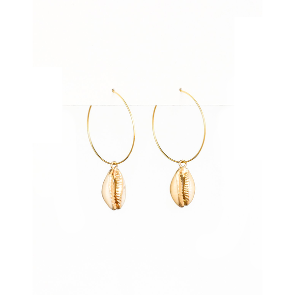 Stella + Gemma Earrings Hoop with Shell Gold