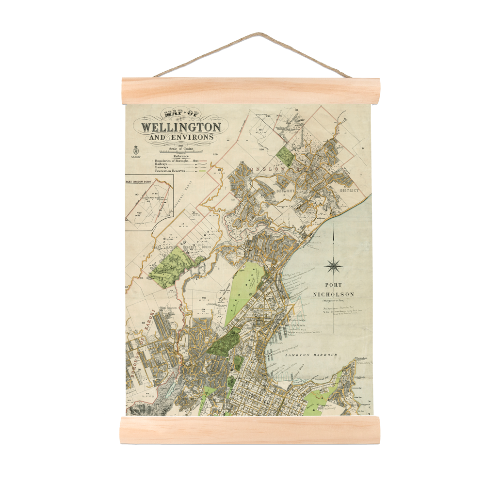 New Zealand Retro Mini Wall Chart Wellington Map