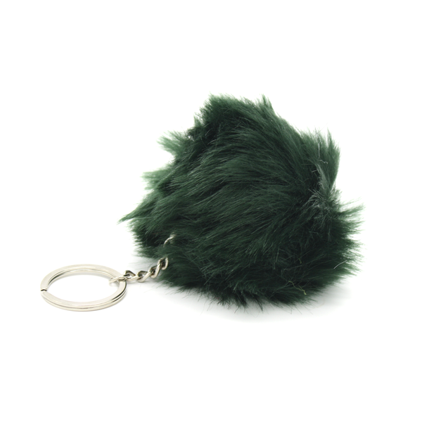 Faux Fur Pom Pom Keyring Forest Green