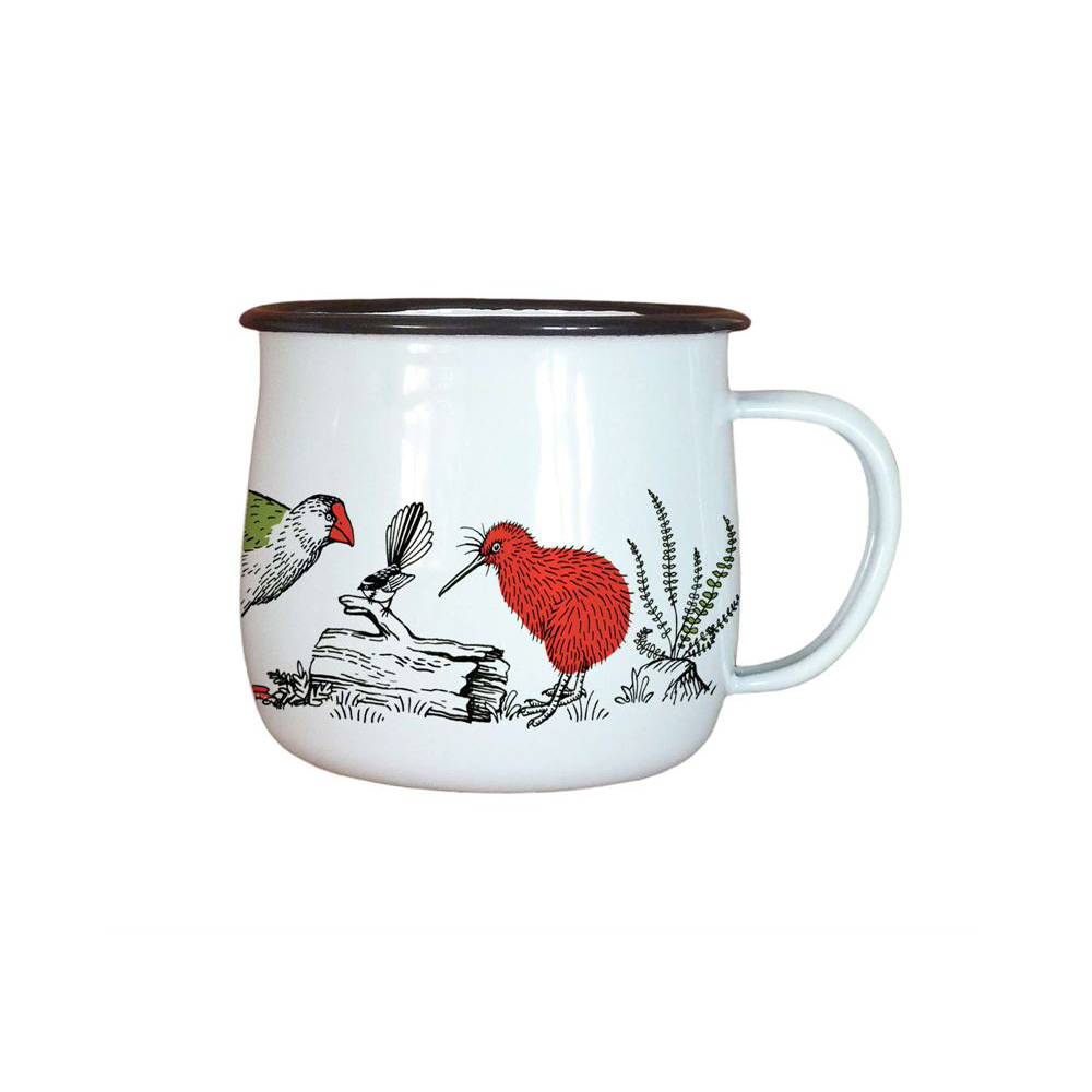 Wolfkamp and Stone Enamel Mug NZ Birds