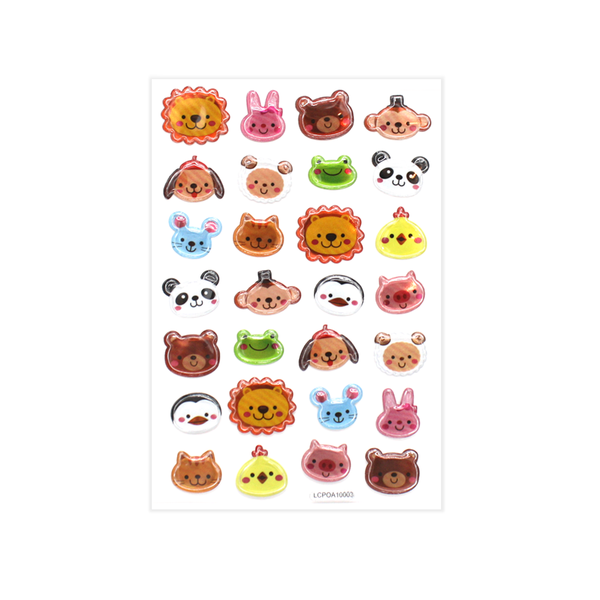 Smiley Animal Face Puff Stickers