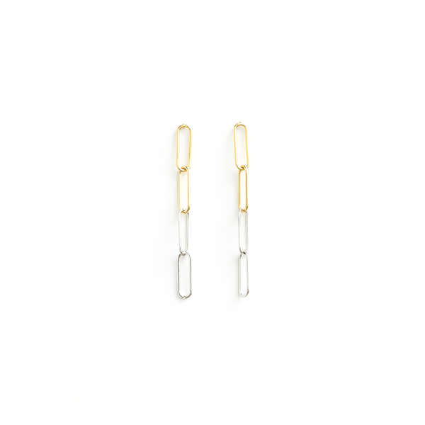 Stella + Gemma Earrings Links Gold Silver