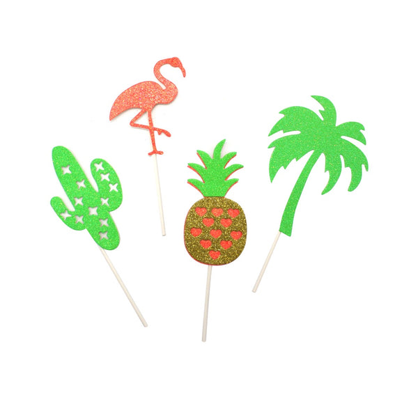 Birthday Cake Decorations Tropical Pack of 4