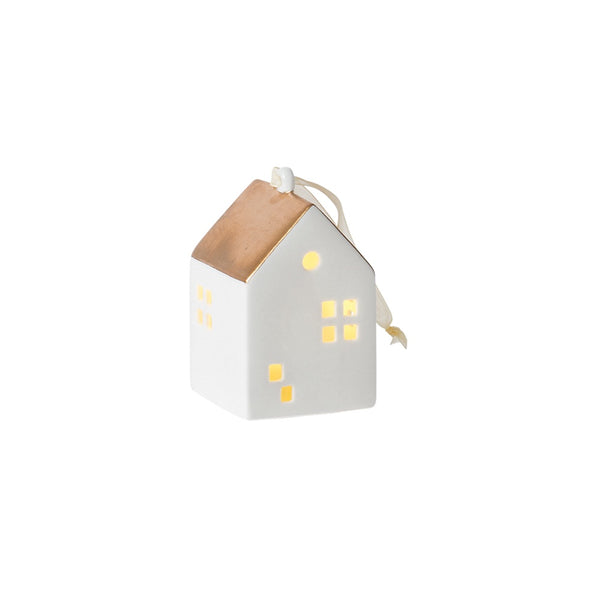 Citta Hanging Glazed Porcelain House LED Light White Gold
