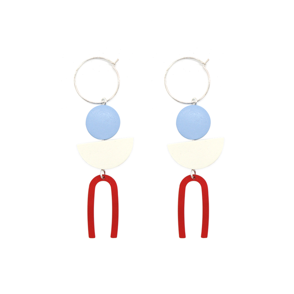 Penny Foggo Earrings Small Metal U Red