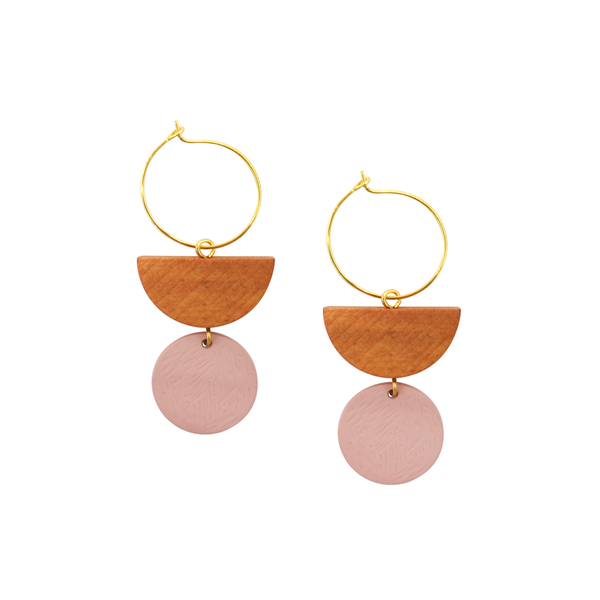 Penny Foggo Earrings Geo Drops Tan and Pink