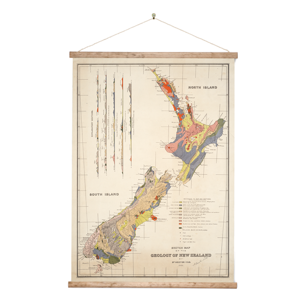 New Zealand Retro Wall Chart Geology Map of NZ