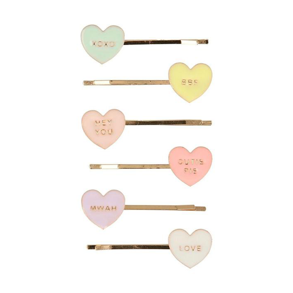 Meri Meri Love Heart Enamel Hair Slides
