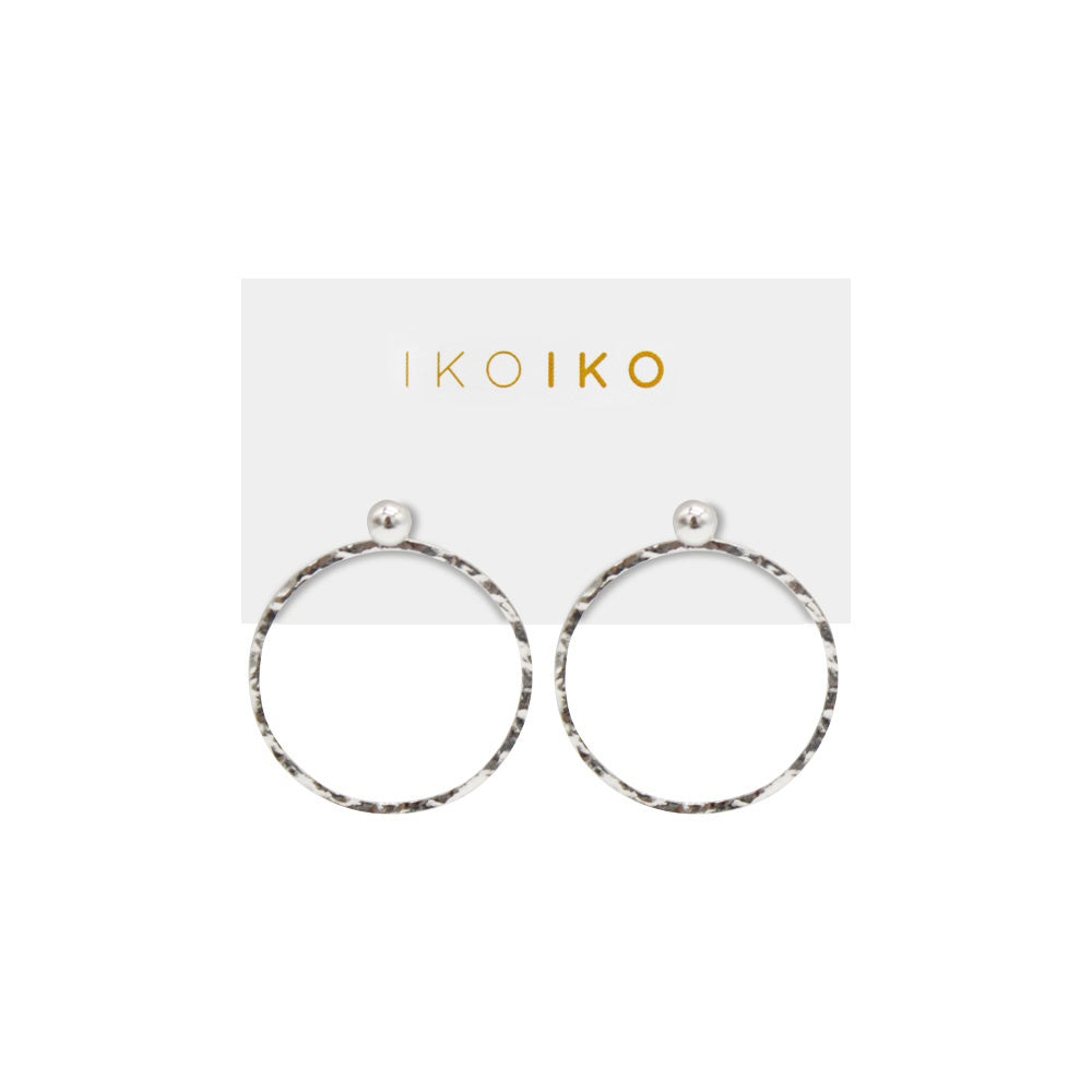 Iko Iko Studs Medium Hanging Hammered Circle Silver