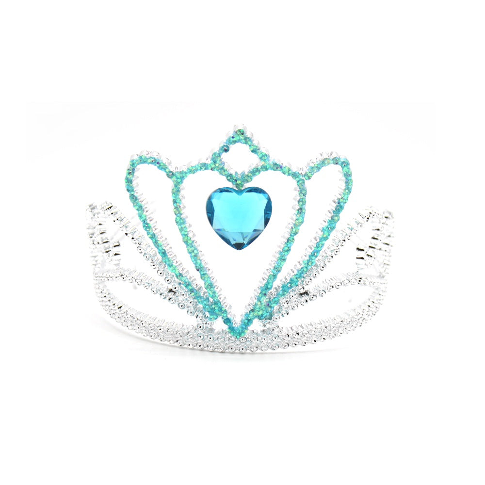 Plastic Tiara Silver and Blue with Gem