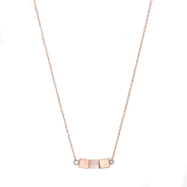 Stella + Gemma Necklace Three Cube Row Rose Quartz Rose Gold