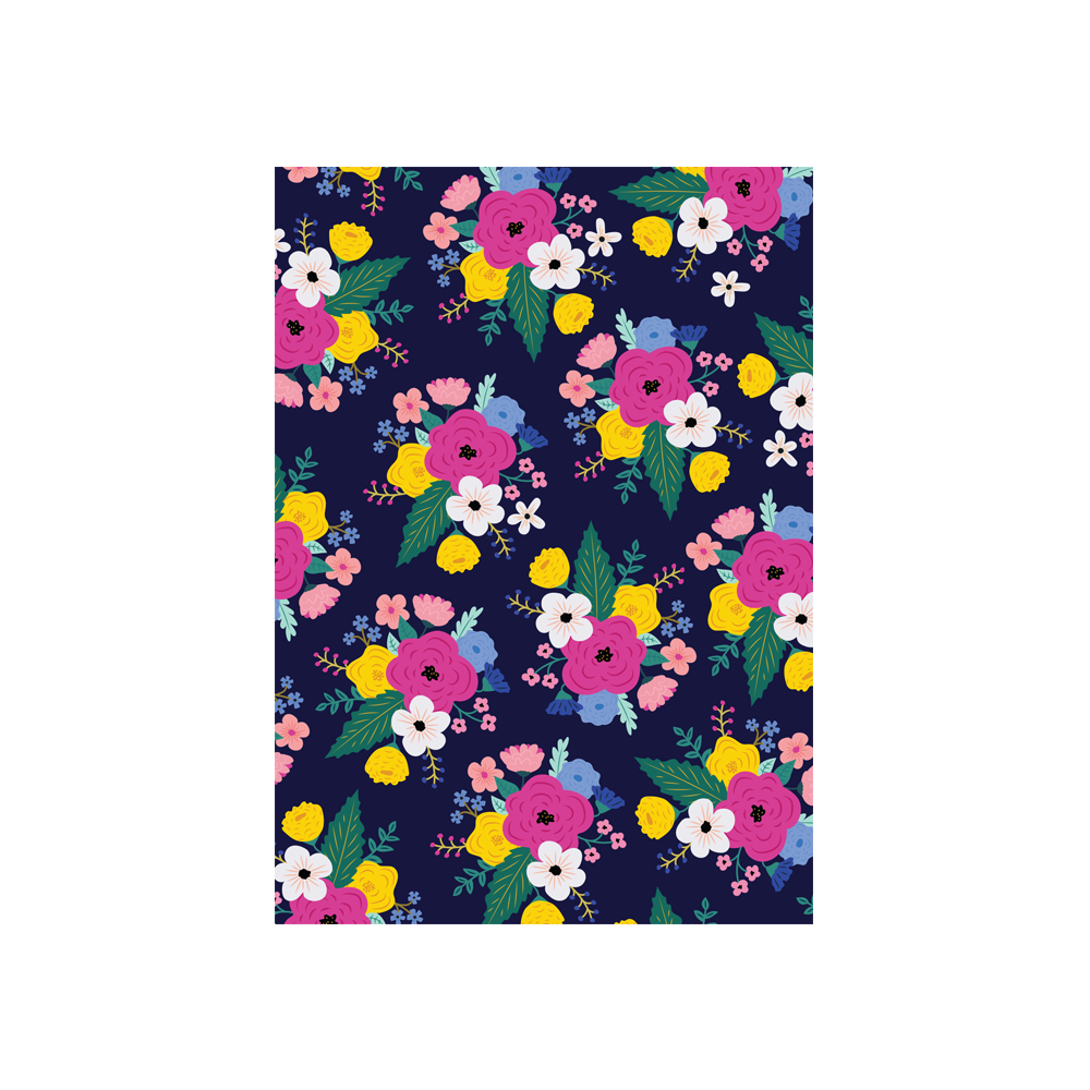 Iko Iko Floral Card Bright Bloom Navy with Bright Pink Flower